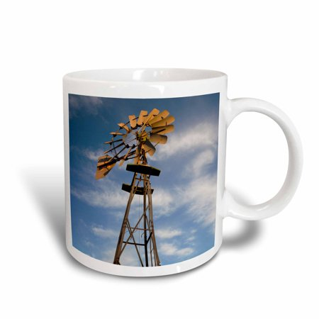 3dRose USA, Oklahoma, Elk City, vintage farm windmills, sunset, Ceramic Mug, 15-ounce (Usa Windy City)