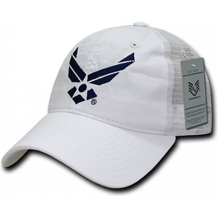 Air Force Trucker Hat - RapDom Air Force Wings Logo Relaxed Trucker Mens Cap [White - Adjustable]