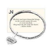 Helen Keller Heart Charm Bracelet The most beautiful things in the world cant be seen or touched