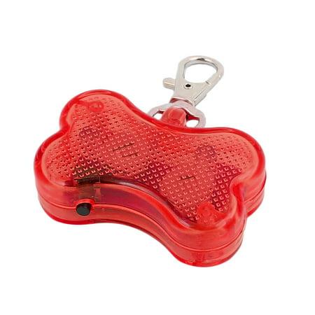Flashing Bone (Red  Light Bone Shape Pet Dog Blinker Flashing  Pendant Collar)