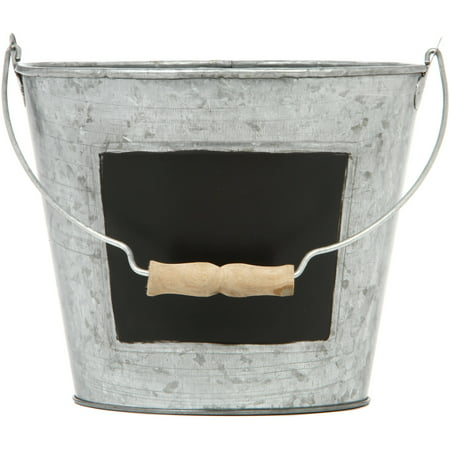 Elegant Expressions by Hosley Metal Pail with Chalkboard, 1 (Chalk Bucket)