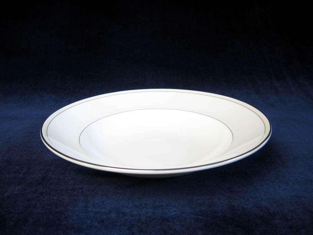 """Platinum Beaded Pearl Pasta Bowl, 11"""" by Nikko Ceramics, Inc."""