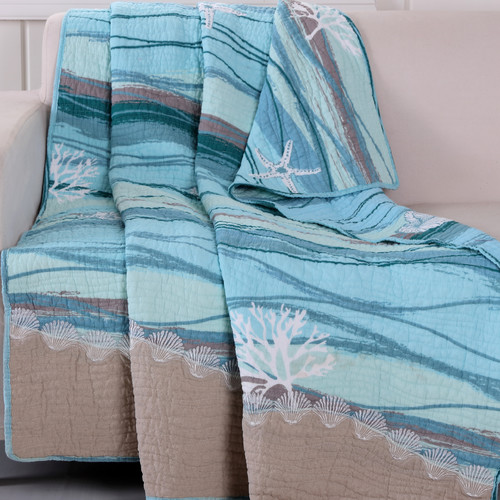 Greenland Home Fashions Maui Quilted Embroidery Throw