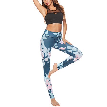 Women Sport Pants High Waist Floral Yoga Fitness Leggings Running Gym Jogging Stretch Trousers