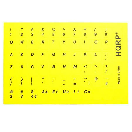 - HQRP New USA UK Laminated QWERTY Keyboard Stickers for All PC & Laptops with Black Lettering on Yellow Background
