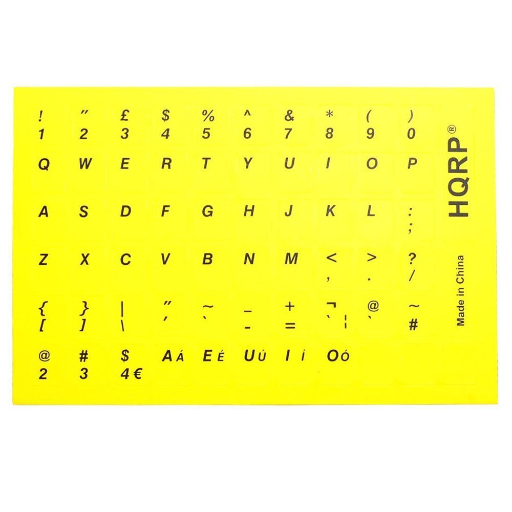 HQRP New USA UK Laminated QWERTY Keyboard Stickers for All PC & Laptops with Black Lettering on Yellow Background