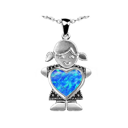 Star K Girl Holding 8mm Mother Heart October Birth Month Pendant Necklace with Blue Created Opal in Sterling Silver