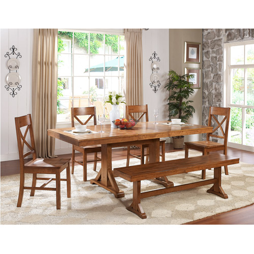 6-Piece Wood Dining Set, Antique Brown (Box 1 of 3)