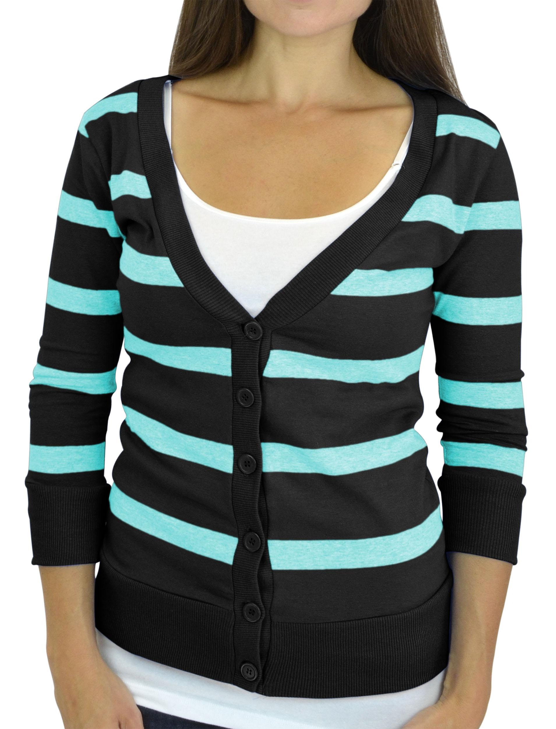 Belle Donne - Women / Girl Junior Size Soft 3/4 Sleeve V-Neck 6 Button Cardigans - Black/Medium