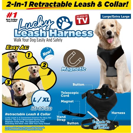 As Seen on TV Lucky Leash Magnetic Harness & Retractable Leash - Size L/XL (36 - 80 lbs) (Magnetic Harness)