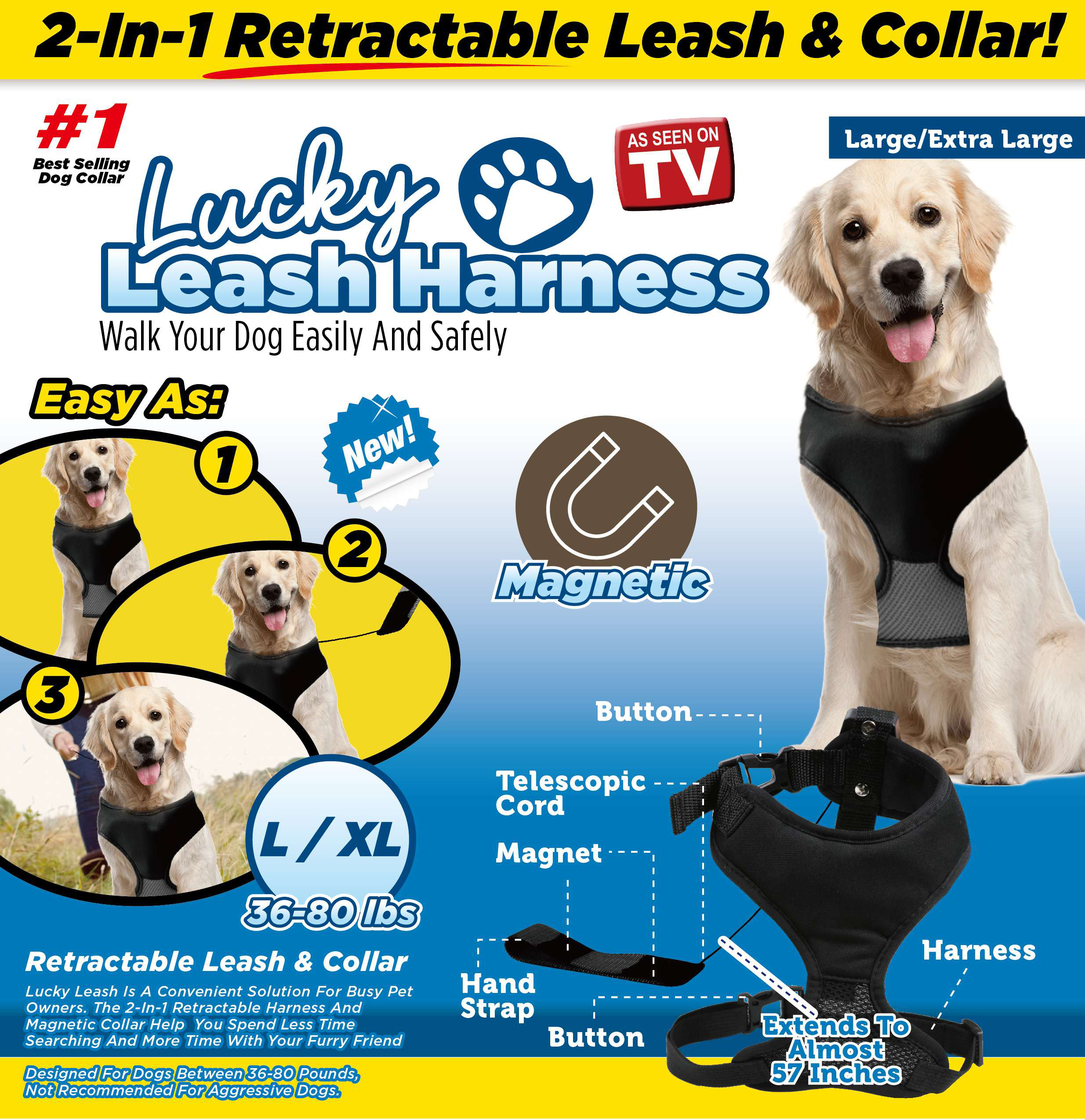 As Seen on TV Lucky Leash Magnetic Harness & Retractable Leash - Size L/XL (36 - 80 lbs)