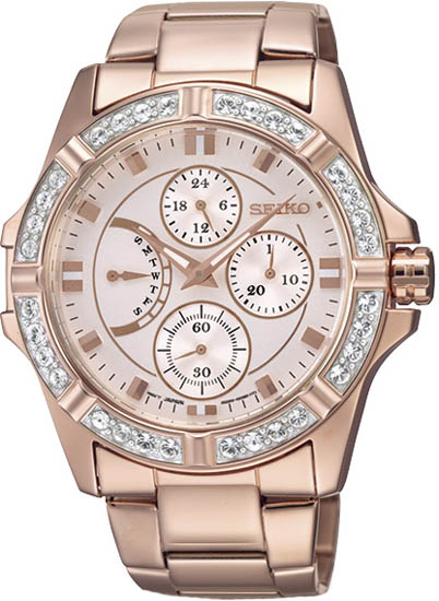 Seiko SRLZ94 Womens Rose Gold Tone Stainless Steel Case and Bracelet Rose Gold Dial Crystals Chronograph
