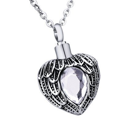 April Crystal Clear Angel Near Heart Birthstone Cremation Jewelry Keepsake Memorial Urn Necklace for Friend/Family/Pet