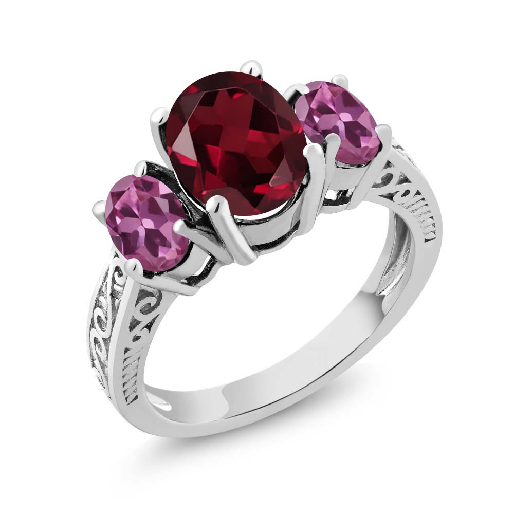 3.20 Ct Oval Red Rhodolite Garnet Pink Tourmaline 14K White Gold 3-Stone Ring by