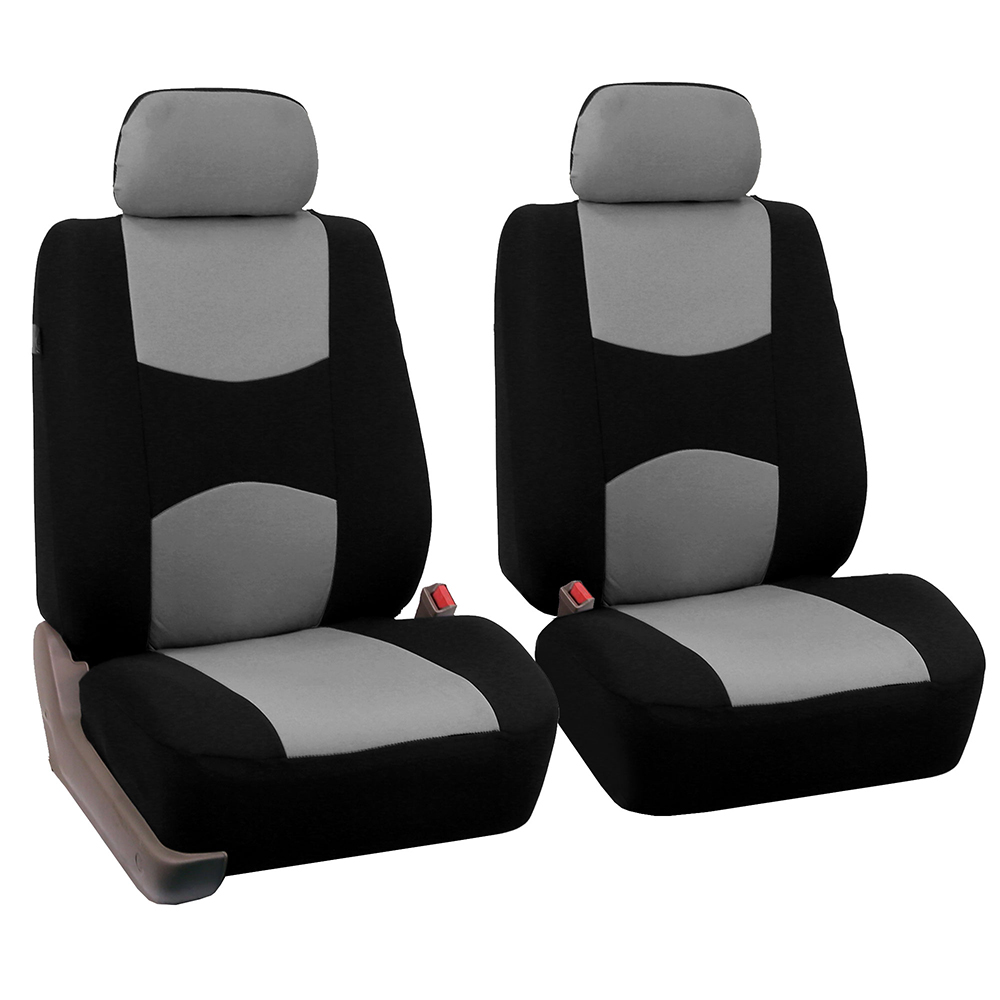 FH Group Universal Flat Cloth Bucket Seat Cover, 2 Pack, Gray and Black