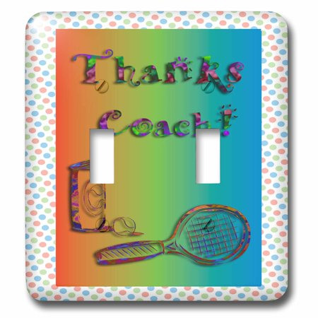 3dRose Thank you to Tennis Coach Tennis Racket and Balls - Double Toggle Switch