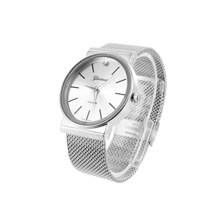 Mens Geneva Platinum Watch Mesh Band White MOP Dial Analog Party Wear Luxury New