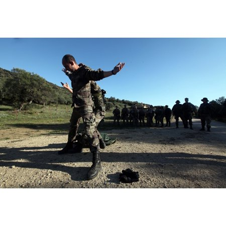 Framed Art For Your Wall Spanish Marines demonstrate searching an individual at an entry control point for Marines with Charl 10x13 - Individual Frames