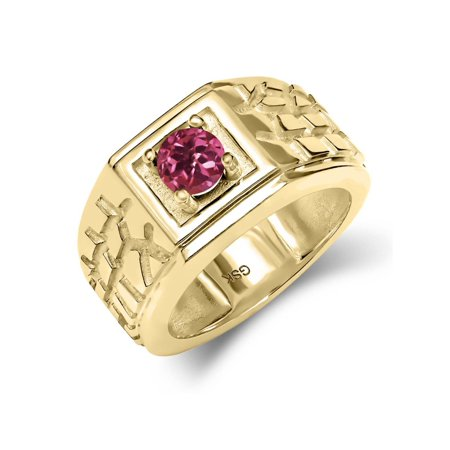 Pink Tourmaline Mens Ring - 0.50 Ct Pink AAA Tourmaline AAA 18K Yellow Gold Plated Silver Men's Solitaire Ring