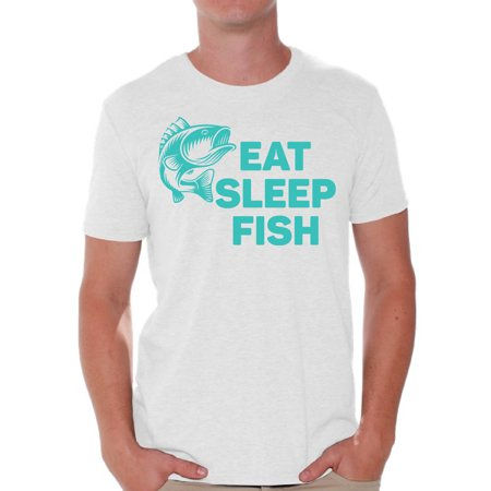 Awkward Styles Eat Sleep Fish Men's T Shirt Fishing Clothes for Him I Love Fishing Shirt for Boyfriend Fishing Lovers Clothes Collection Fisher T Shirt for Dad Eat Sleep Fish Shirt for Men