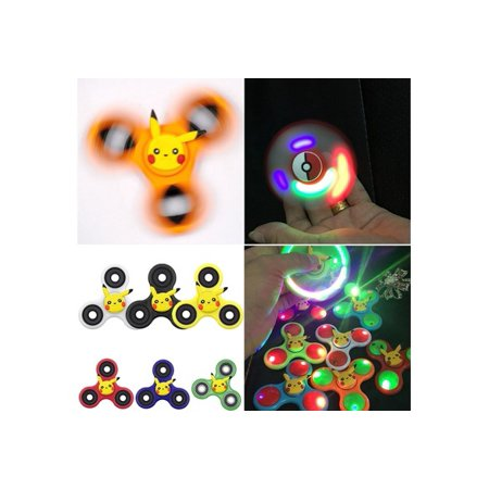 Pikachu Gifts (Autism ADHD Finger Hand Spinner Toy LED Luminous Pokemon Pikachu Fidget Spinners Gyro Gift)