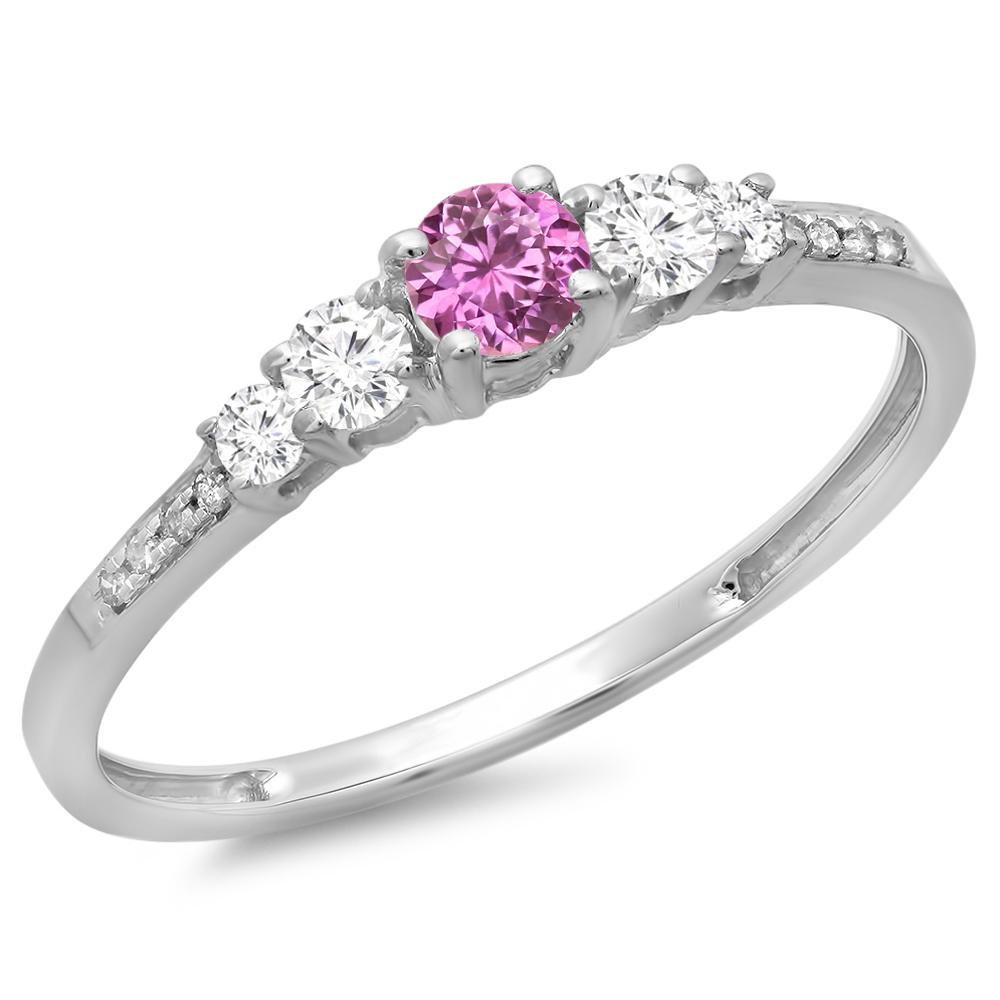 0.40 Carat (ctw) 18K White Gold Round Cut Pink Sapphire & White Diamond Ladies Bridal 5 Stone Engagement Ring