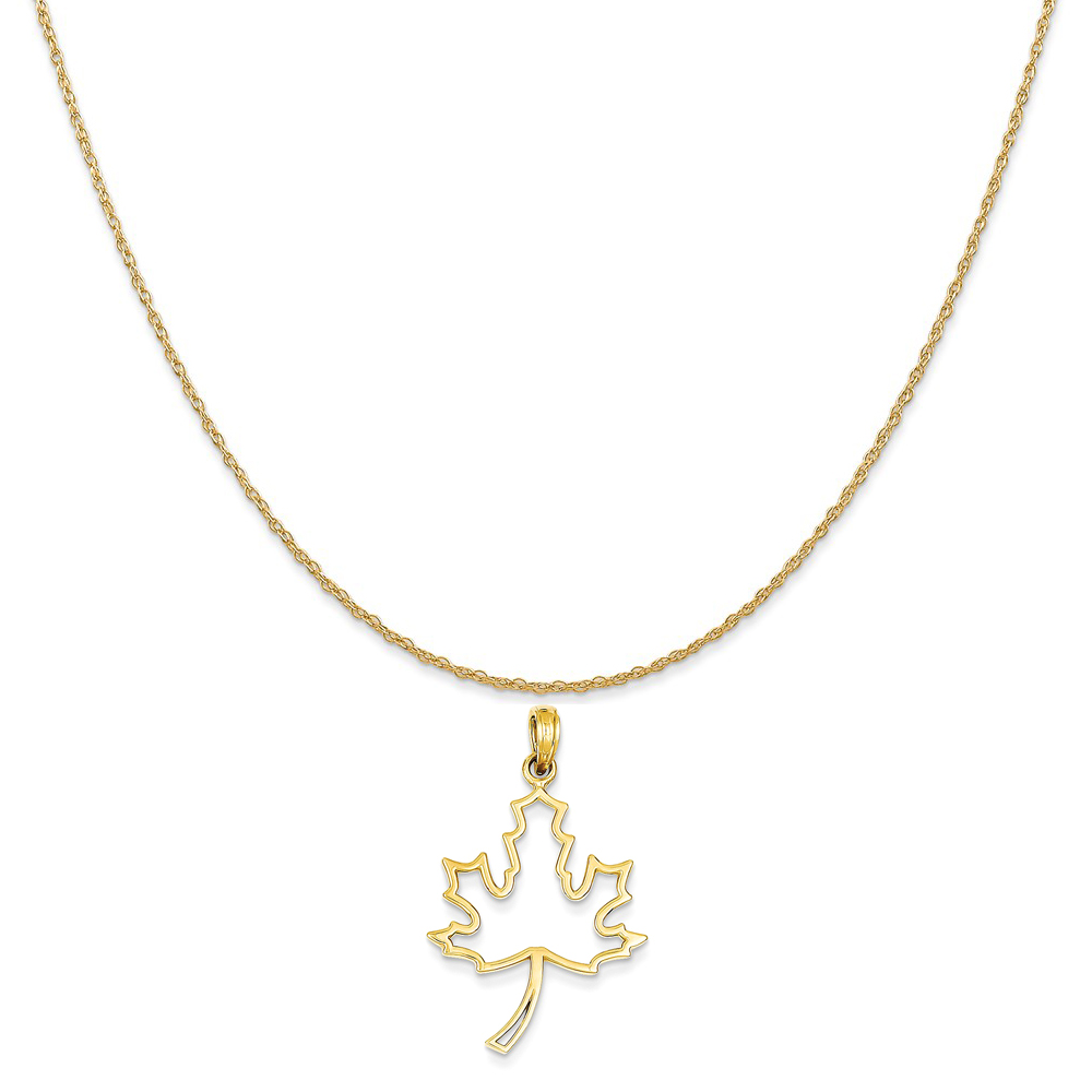 14k Yellow Gold Polished Cut Out Maple Leaf Pendant on 14K Yellow Gold Rope Chain Necklace, 20""