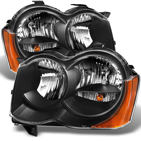 - Fit 2008-2010 Jeep Grand Cherokee *Halogen Type* Black Headlights L+R Lamps