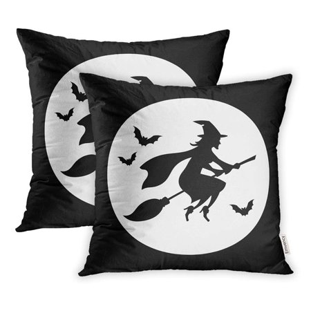 USART Autumn Witch Flying Over The Moon Silhouette Halloween Black White Bat Broom Pillowcase Cushion Cover 18x18 inch, Set of 2