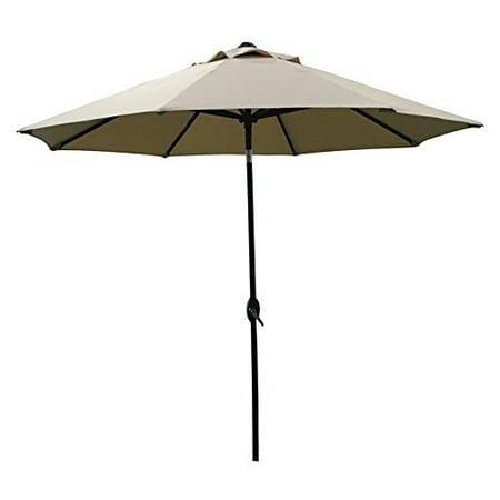 ABO Gear 9 Ft Outdoor Table Aluminum Patio Umbrella with Auto Tilt and Crank, 8 Ribs, Polyester, Tan