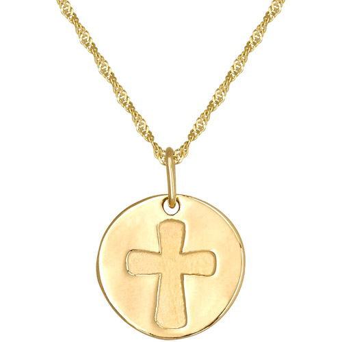 Simply Gold 14kt Yellow Gold Small Disc with Cross Pendant, 18""
