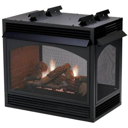 Premium Vent-Free Peninsula 36 Fireplace Millivolt, Banded Brick Ceramic Fiber Liner, Liquid Propane