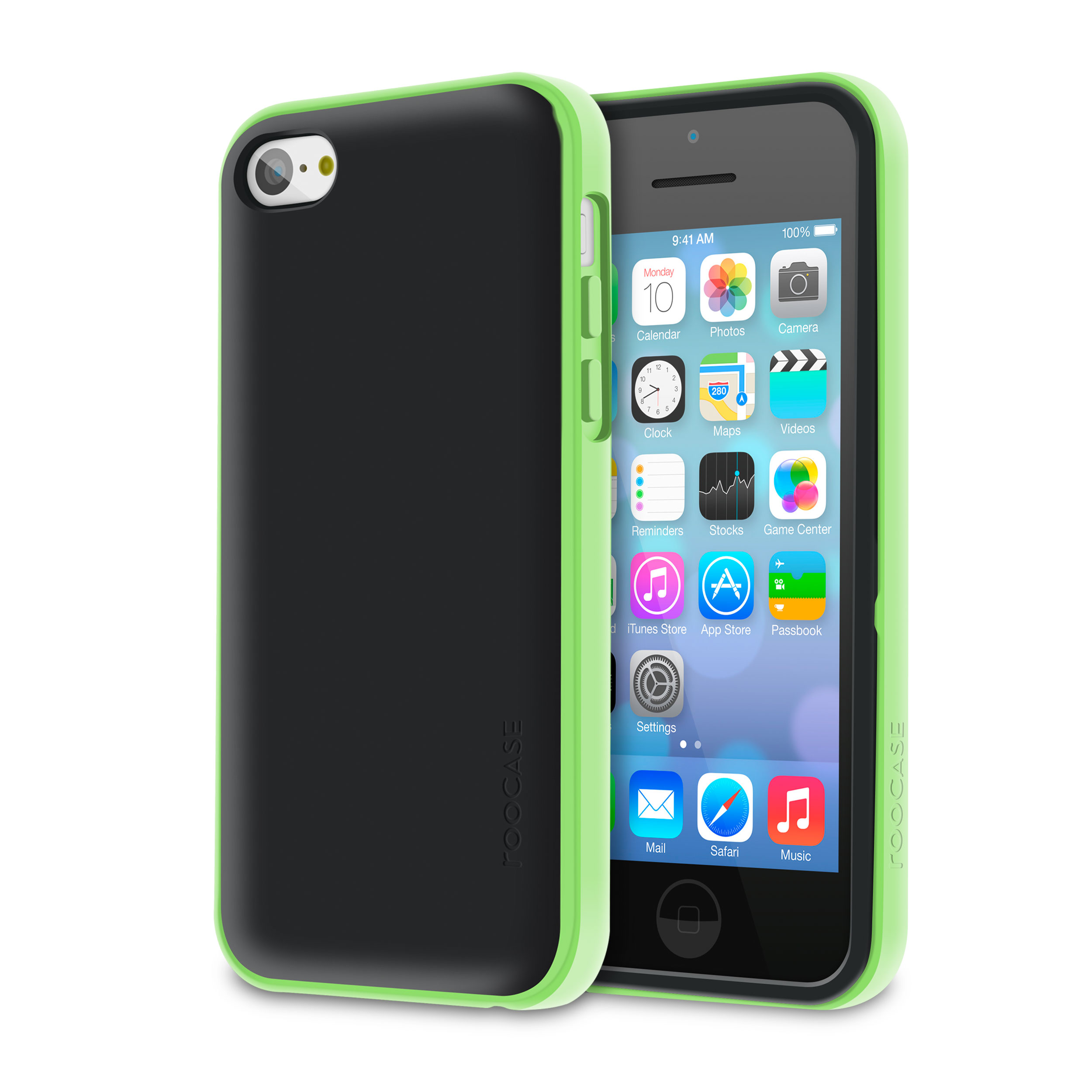 rooCASE Apple iPhone 5C Slim Armor Dual Layer Case Cover [Hype Hybrid] (Green) Advanced Shock Absorption Technology