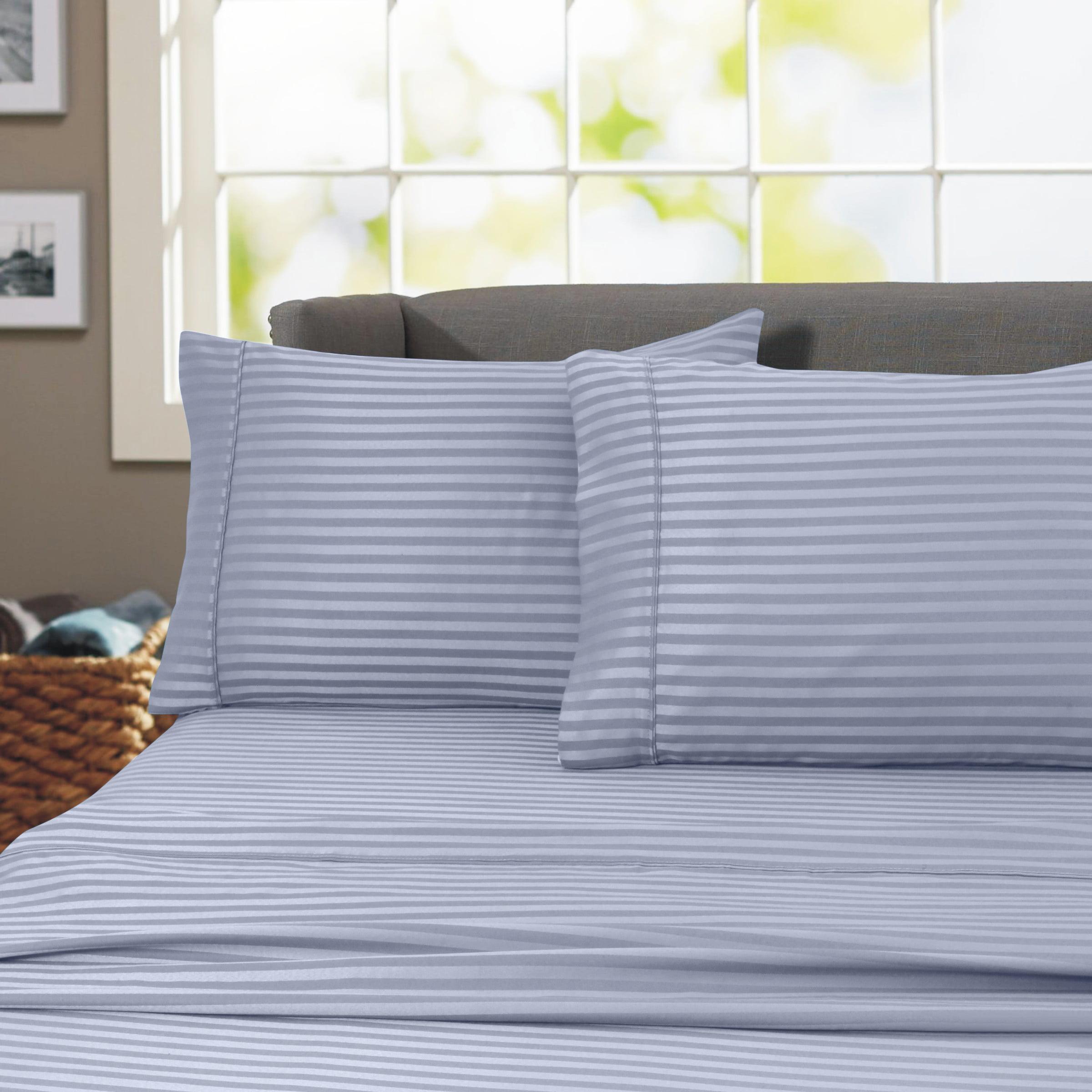 600 Thread Count 100 Cotton Wrinkle Free Striped Sheet Set California King Blue Walmart Com Walmart Com