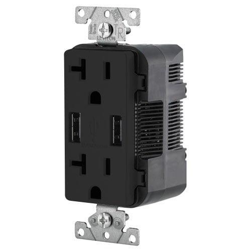 Leviton Combination Duplex Receptacle & USB Charger, 20A, Black - image 1 of 1