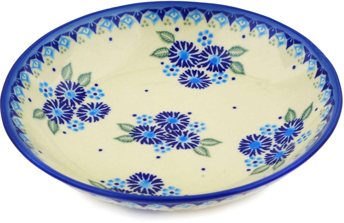 Polish Pottery 8�-inch Pasta Bowl (Aster Patches Theme) Hand Painted in Boleslawiec, Poland + Certificate of... by Ceramika Bona