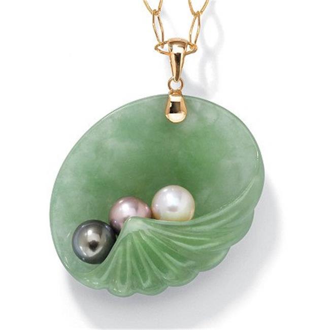 PalmBeach 44402 Jade and Pearl Shell Pendant in 14k Gold