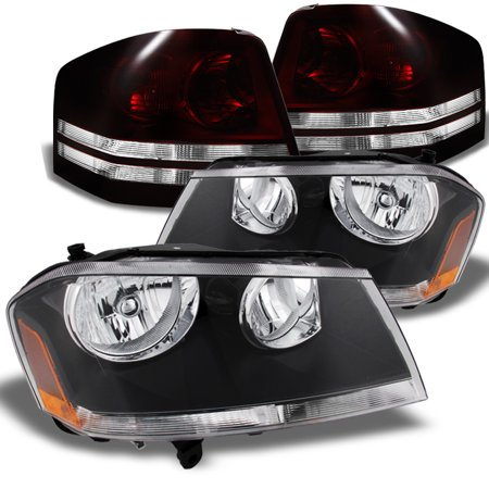 2000 Dodge Avenger Replacement - Fit 08-10 Dodge Avenger Black Headlights + Dark Red Tail Lights Replacement