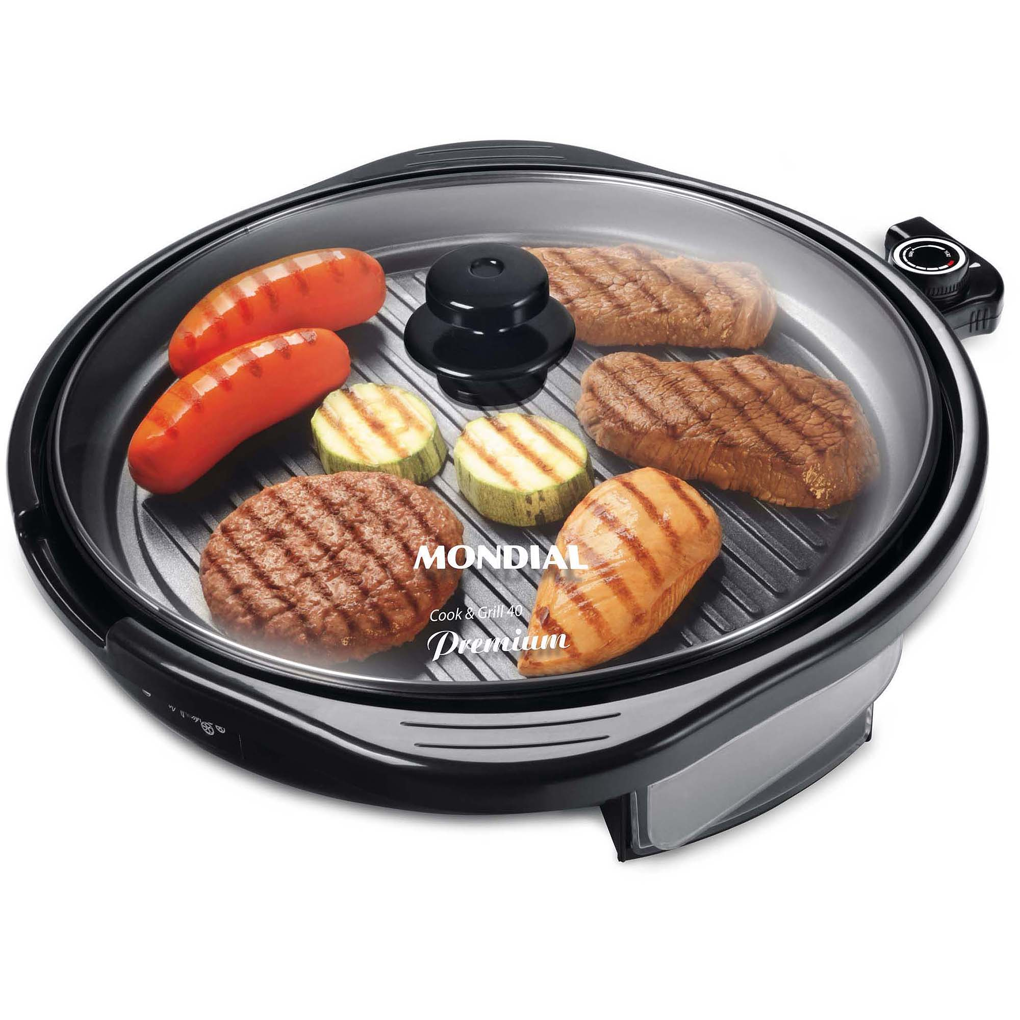 Mondial G-13 Electric Skillet with Glass Lid, Black