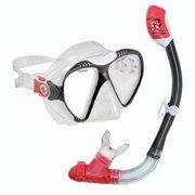 US Divers Adult Magellan LX Purge Mask and Tucsan LX Snorkel Combo - Black/Red