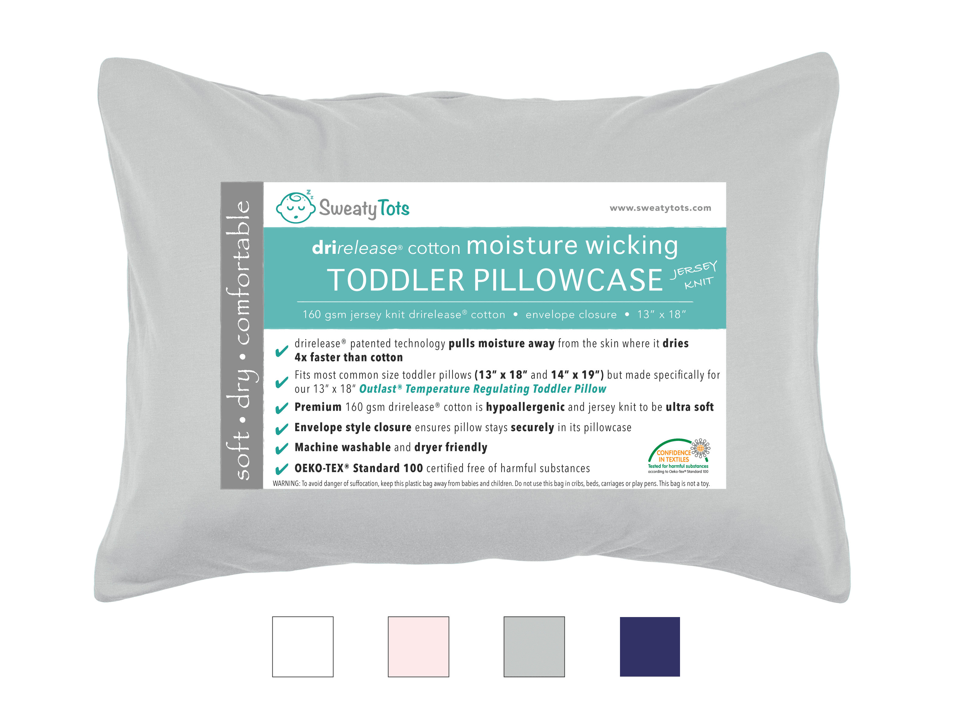 (Gray) Moisture Wicking Toddler Pillow Case for Sweaty Sleepers by Sweaty Tots- Fits 13 x 18 and 14 x 19... by