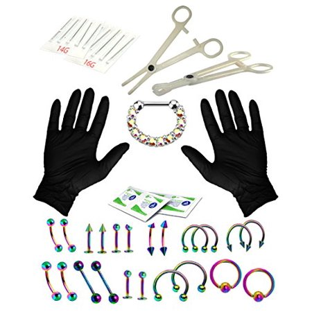 BodyJ4You® Body Piercing Kit Professional Rainbow Tongue Tragus Ear Eyebrow Nipple 36 Pieces