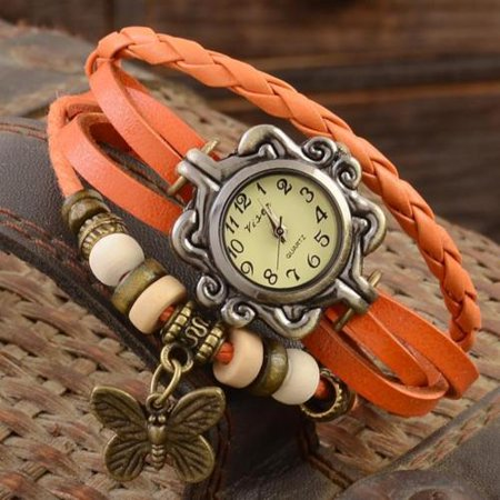 Fashion Women Vintage Butterfly Bracelet Leather Analog Quartz Wrist Watch (Analog Leather Wrist Watch)
