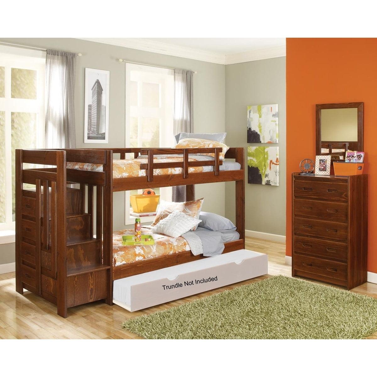 Chelsea Home Furniture Darkwoods Dark Twin over Twin Reversible Stair Bunk Bed
