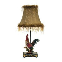 """19"""" Black and Gold Petite Rooster Table Lamp with Dark Gold Shade"""