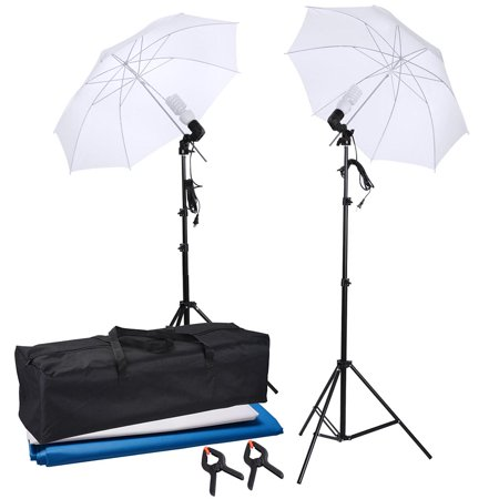 Portable Portrait Studio Photography Umbrella Continuous Lighting Kit w/ backdrops 2x 45W Bulbs 2x Clamps
