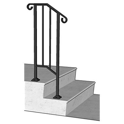 Iron X Handrail Picket #1 (Wood or Composite Steps)