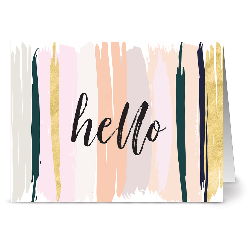 24 Note Cards - Neutral Brushed Hello - Blank Cards - Gray Envelopes Included