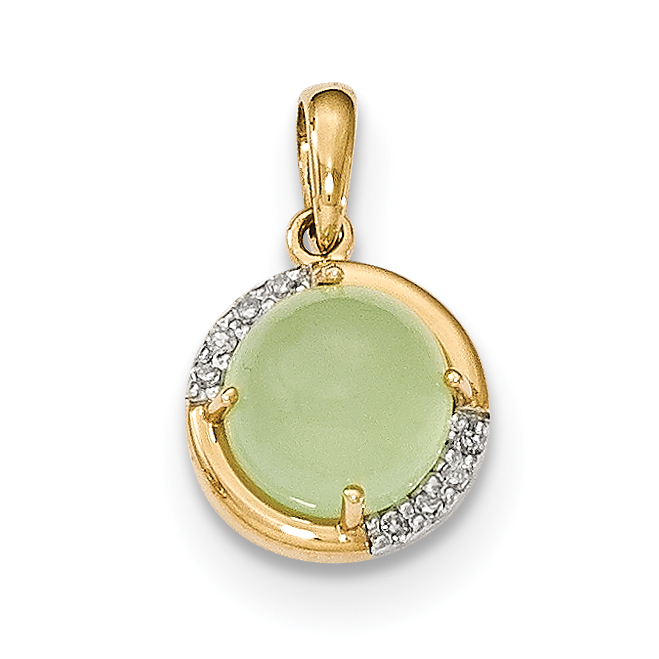 14k Green Chalcedony and Diamond Pendant by CoutureJewelers
