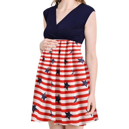 Jchiup Women Independence Day Stripes Star Flag Printing Maternity Swing Dress (4th Of July Dress)